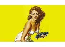 女人,攻击,pinup模型,电影,黄色338479