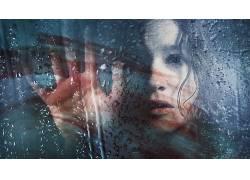 在恐惧中,玻璃上的水,电影,面对,手107276
