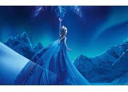 埃尔莎公主,动画电影,电影,迪士尼,冷冻(电影),冰川,雪,极夜,晚