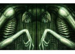 H.R.Giger,外星人(电影),超现实主义,头骨,生物,艺术品,骨架113