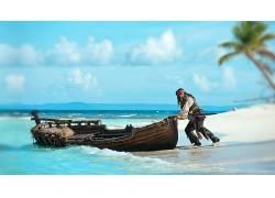 加勒比海盗,约翰尼・德普,杰克・斯派洛,男人,船,海滩,海,电影114