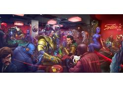 动漫,X战警,漫画,洛基,恶棍,普通话,Bucky Barnes,磁,红色的头骨,
