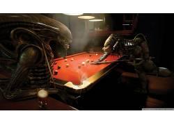 外星人,3D,捕食者(电影),台球桌,外星人与掠夺者,酒吧,台球,台