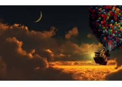 Up(电影),日落,气球,屋,月亮,新月,云247911