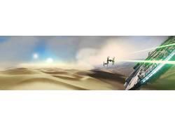 多重显示,双显示器,星球大战,千年猎鹰,TIE战斗机,沙漠,星球大战