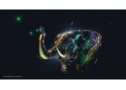Desktopography,象,数字艺术,亚当Spizak,动物,简单的背景87946