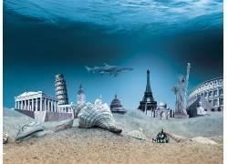 创造力,照片处理,海,水下,建筑,动物,鲨鱼,砂,贝壳,比萨斜塔,大本