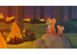 动漫,纸,聚,火,性质,狐狸,岩,低聚,数字艺术,石头,植物,树木,花卉