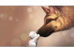 动漫,背景虚化,艺术品,狗,猫,小动物840