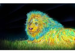 动物,Matei Apostolescu,数字艺术,华美,狮子,迷幻134450