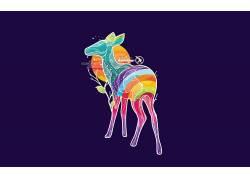 动物,华美,鹿,数字艺术,简单的背景18894