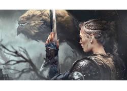 战士,幻想艺术,剑,盔甲,动物,托马斯张伯伦 - 敏526384