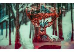 鹿,数字艺术,森林,动物,山,马特558174