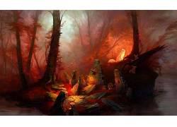 红,森林,动物,幻想艺术,艺术品476521