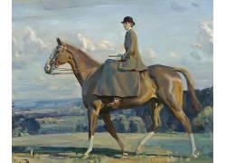 经典艺术,妇女,性质,动物,绘画,艺术品,马,阿尔弗雷德詹姆斯Munni