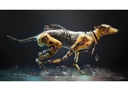 法里德甘巴里,数字艺术,艺术品,动物,羽毛,机器人,狗686308