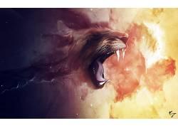 艺术品,幻想艺术,抽象,空间,狮子,云,明星,动物,克劳迪奥・泰斯塔