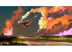艺术品,幻想艺术,鲸,动物,路,数字艺术,云633674