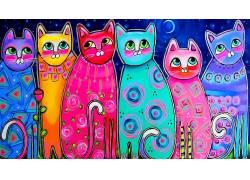 华美,艺术品,猫,动物659292