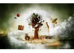 艺术品,树木,动物,浣熊,长颈鹿,鸭嘴兽,水果532543