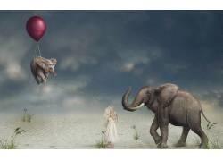 艺术品,气球,象,动物,孩子,超现实主义470392