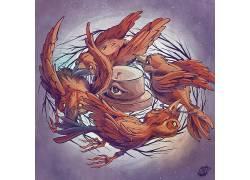 艺术品,涂鸦,画画,脂肪热,动物,鸟类,眼睛,科,圈,巢478672