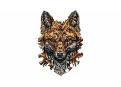 艺术品,狐狸,动物,白色背景537556