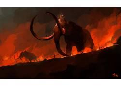 艺术品,黑暗,红,幻想艺术,黑暗的幻想,动物,多米尼克梅耶693480