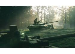 熊,小动物,坦克,木,太阳光线,武器,士兵,T-90597876