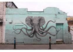 动物,艺术品,壁,象,章鱼,涂鸦,街,伦敦,联合王国,交叉,触手,砖块,