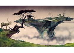 幻想艺术,数字艺术,浮岛,性质,动物,鹿,树木,薄雾,湖,绘画,水彩,