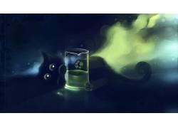绘画,DeviantArt的,黑猫,Apofiss,猫,玻璃,艺术品,动物20898