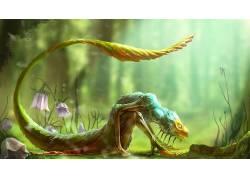 龙,数字艺术,幻想艺术,生物,尾巴,壁纸,花卉,景深,植物283024图片