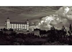 建筑,布拉迪斯拉发,斯洛伐克,城堡,云,单色,植物,树木608267