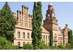 建筑,建造,老建筑,乌克兰,切尔诺夫茨大学,树木,砖块,clocktowers