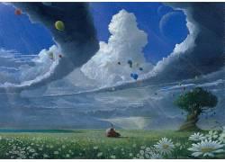 云,气球,花卉,平原,幻想艺术,巫师186299