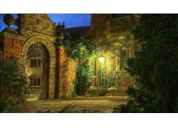 建筑,老建筑,树木,壁纸,砖块,植物,英国,联合王国,茅屋,HDR,晚间,