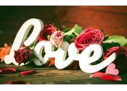 心,花卉,活版印刷,爱,玫瑰333610图片