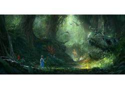 恐龙,木,壁纸,森林,植物,绿色,数字艺术,灯火,插图,树木,花卉,飞
