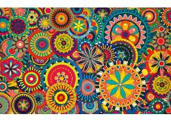 华美,数字艺术,几何,圈,对称,花卉,模式,迷幻,三角形,抽象241109