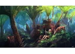 战士,幻想艺术,森林,花卉,鹿,剑,靴子,抬头看,绿色服装,树叶,乃拉