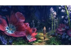 托马斯张伯伦 - 基恩,数字艺术,幻想艺术,妇女,金发,树木,丛林,花