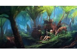 托马斯张伯伦 - 基恩,数字艺术,幻想艺术,妇女,金发,树木,丛林,鹿