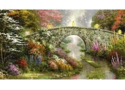 托马斯金凯德,绘画,桥,花卉,流,灯笼103672