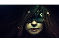 技术,妇女,嘴唇,眼镜,花卉,艺术品,面对,庞克,未来,头发中的花,黑