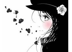 玫瑰,轮廓,动漫女孩,动漫,花卉27292
