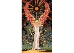 卡西米尔李,妇女,白色礼服,天使,金发,翅膀,植物,太阳675689