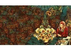 画画,花卉,妇女242358