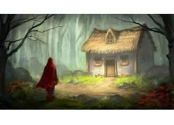 数字艺术,幻想艺术,童话,小红帽,树木,森林,屋,绘画,草,石头,花卉