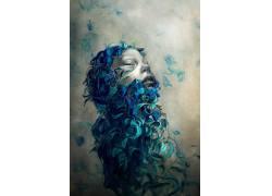 数字艺术,抽象,简单的背景,面对,闭着眼睛,花卉,花瓣,画画,肖像显